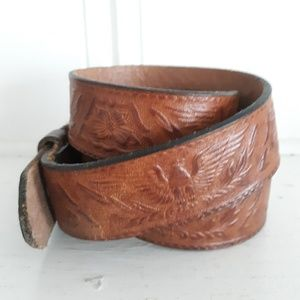 Vintage Brown Leather Tooled Eagle & Floral Belt